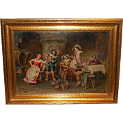 SOLD Superb Antique English Oil Painting w Tavern Scene by Francesco Peluso (1836-1916) - Red
