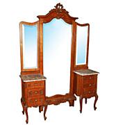 SALE 1875 Unusual Antique Louis XV Oak Chevel Mirror with Dresser