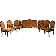 1905 9-Piece French parlour suite in walnut with carved details