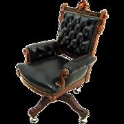 1943 19th C. Victorian American Inlaid Swivel Chair