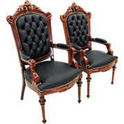 1961 Pair of American Renaissance His & Hers Clients Armchairs in Black Leather