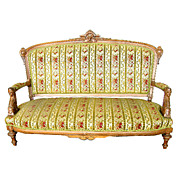 1962 Antique 19th C. Victorian Sofa with Carved Ladies Heads by Jelliff