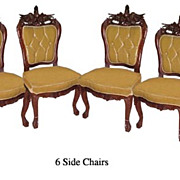 2137 Fabulous 6-Piece Carved Eagle Chair Set c. 1885