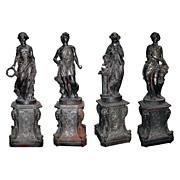 "SALE 3126 Set of Four Cast Iron Garden Figures - ""The Four Seasons"""
