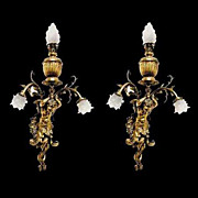 SALE 4042 Beautiful Pair of Bronze Wall Lights with Full Figural Cupids