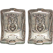 SALE 4049 Pair of Silver Over Bronze Sphinx Bookends