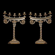 SALE 4104 Pair of French Bronze Antique Candelabras