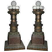 SALE 4298 Pair of Chicago Courthouse Bronze Torcheres