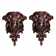 SALE 4437 Pair of bronze wall sconces with female head