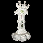 SALE 62.4510 Fantastic solid white marble clock.