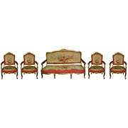 SALE 4604 5-piece French Giltwood Salon Suite Upholstered  Aubusson tapestry in Louis XV style