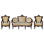 465 Wonderful 3-Piece Walnut Parlor Set by John Jelliff c. 1885