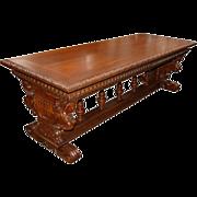 SALE 4857 19th C. Italian Victorian Figural Library Table in Walnut