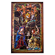 SALE 4946 19th C. Antique  Stained Glass Window Depicting The Annunciation