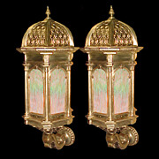 SALE 5029A Pair of 19th C. Bronze Lantern Sconces.