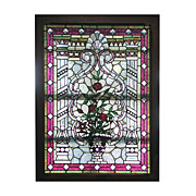 SALE 5644 Magnificent American Leaded & Stained Glass Jeweled Landing Window