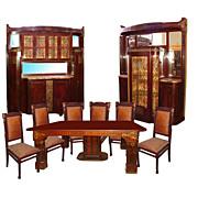 SALE 5116 Fabulous 9 Pc Mahogany Art Nouveau Dining Suite.