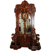 SALE 5201 Large Carved Rosewood Renaissance Revival Hall Tree