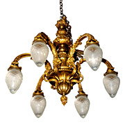 SALE 5203 Beautiful 19th C. 6-Arm Chandelier with Cut Glass Bullet Shades