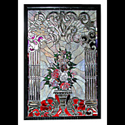 SALE 5453 Fabulous Stained Beveled & Rippled Glass Window