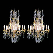 REDUCED 5572 Pair of Fabulous Bronze & Crystal Antique Chandeliers