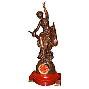 SALE 63.5653 Beautiful Clock with Figural Bronze Woman on Marble Base Signed Damoug