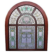 SALE 5751 Beautiful Stained Glass Landing Window