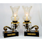 REDUCED 5860 Pair of Antique Bronze & Iron Table Lamps with Cut Glass Shades