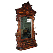 SALE 5882 Antique Renaissance Revival Carved Rosewood Hall Piece