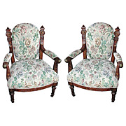 5883 Pair of Antique Victorian Armchairs by Pottier & Stymus