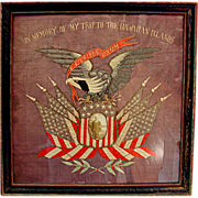 SALE 5940 Framed WWI Needlepoint Memorabilia