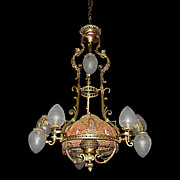 SALE 6036 Fantastic 19th C. French Victorian Chandelier with Fabric Shade