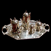 SALE 6048 Fabulous 5 Piece WMF Silver Plate Art Nouveau Tea Set
