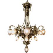 SALE 6057 19th Century French Solid Bronze Chandelier