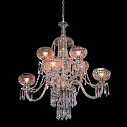SALE 6058 Spectacular Two-Tier Crystal and Prism 8 Arm Chandelier
