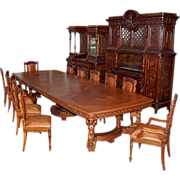 SALE 6484 19th C. Italian Walnut Carved Figural 15-Piece Dining Suite in Mannerist Style