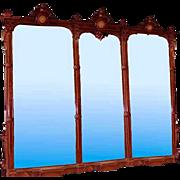 SALE 6563 Monumental 19th C. Renaissance American Walnut 11' Triptych Mirror w/Bronze Plaques