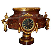 SALE 6644 French Empire Marble and Bronze Clock