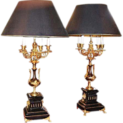 SALE 6647 Beautiful Pair of Bronze Lamps with Marble Base