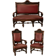 SALE 7146 Victorian Gothic Walnut Parlor Set Atrributed to Daniel Pabst