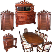 SALE 7187 17-Pc. Oak Dining Set with Figural Maidens & Winged Cupids