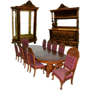 SALE 7200 13-Pc. Winged Griffin Figural Carved American Oak Dining Set