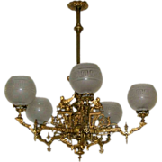 SALE 7235 French Egyptian Revival 5-Arm Gas Chandelier