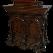 SALE 7243 American Gothic Revival 19th century Walnut pedestal/Podium with Burl Veneers