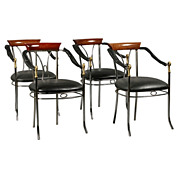 7401 Stylish Set of Four Chrome &  Bronze Chairs with Swan Decorated Arms & Upholstered Seats c. 1920