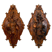 SALE 7621 Pair of Antique Carved Wood Black Forest Game Plaques