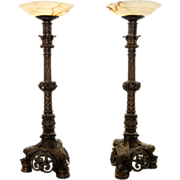 SALE 7671 Pair of Ornate Gothic Revival Bronze Torchieres