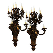 SALE 7675 Pair of Antique 19th C. Bronze Cherub Wall Sconces