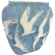 SALE 7697 Rare 20th C. Phoenix Glass Vase with Embossed Seagulls in Flight