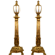 SALE 7712 Pair of Antique Bronze Torchères